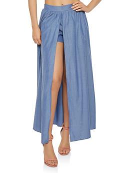 Elastic Waist Chambray Maxi Shorts - 1061074281084