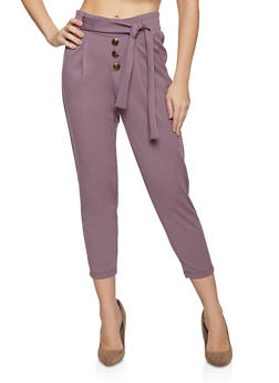 Four Button Tie Front Pants - 1061075170004