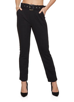 Belted Crepe Dress Pants - 1061075849291