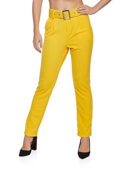 Belted Crepe Dress Pants - 1061075849291