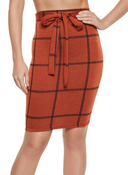 Plaid Tie Front Pencil Skirt - 1062020623184