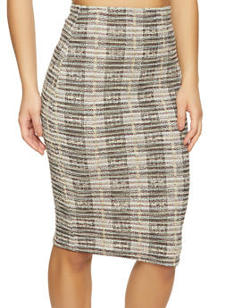 Lurex Tweed Midi Pencil Skirt - 1062020623956