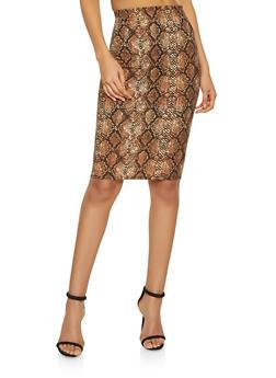 Snake Print Pencil Skirt - 1062020623957