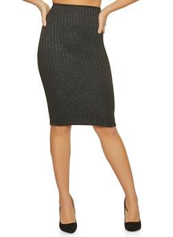 Shimmer Striped Pencil Skirt - 1062020623958