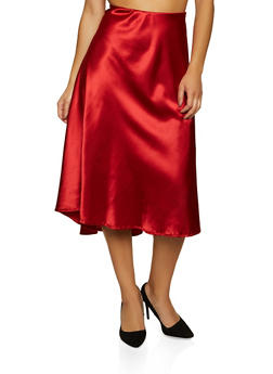 Solid Satin Skater Skirt - 1062020624044