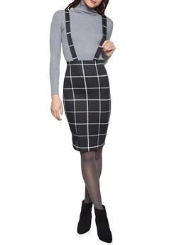 Plaid Suspender Pencil Skirt - 1062020624182