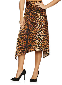 Printed Asymmetrical Skater Skirt - 1062020624461