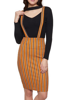 Striped Suspender Skirt - 1062020624464