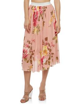 Floral Mesh Midi Skirt - 1062020624481