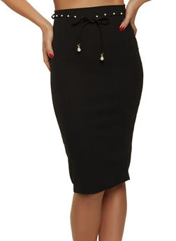 Faux Pearl Belt Pencil Skirt - 1062020624492