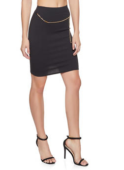 Metallic Chain Detail Pencil Skirt - 1062020625447