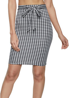 Tie Waist Plaid Pencil Skirt - 1062020626134