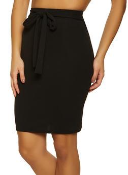 Crepe Tie Front Pencil Skirt - 1062020626174