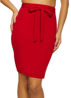 Crepe Tie Front Pencil Skirt - 1062020626174
