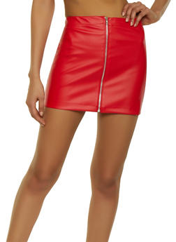 Faux Leather Zip Front Mini Skirt - 1062020626262