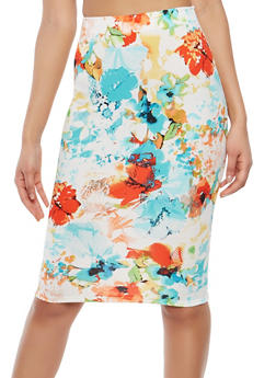 High Waisted Printed Pencil Skirt - 1062020626493