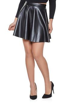 Faux Leather Mini Skater Skirt - 1062020626887