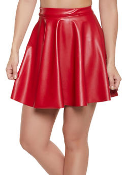 Mini Faux Leather Skater Skirt - 1062020628114