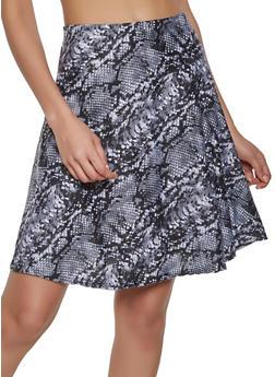 Snake Print Skater Skirt - 1062020628288