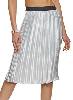 Satin Pleated Pencil Skirt - 1062020629112