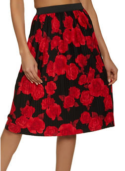 Floral Pleated Skater Skirt - 1062020629113