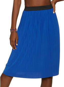 Pleated Skater Midi Skirt - 1062020629117