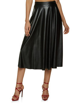 Faux Leather Midi Skater Skirt - 1062020629228