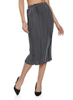 Polka Dot Pleated Skirt - 1062020629287