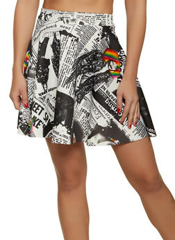 Printed Mini Skater Skirt - 1062020629334