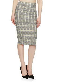 Printed Scuba Knit Pencil Skirt - BLACK/WHITE - 1062020629566