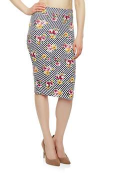 Printed Scuba Knit Pencil Skirt - 1062020629566