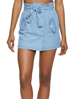 Button Front Denim Mini Skirt - 1062038342221