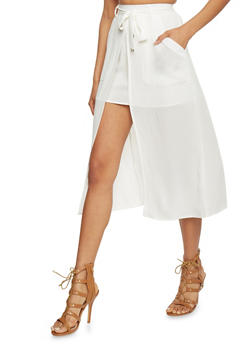2 In 1 Mini Skirt with Mid Length Overlay - 1062051063636