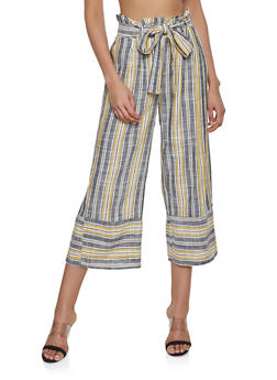 Striped Paper Bag Waist Linen Pants - 1062051064043