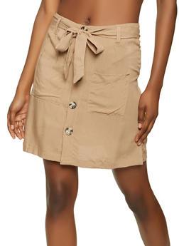 Button Front Cargo Skirt - 1062051066360