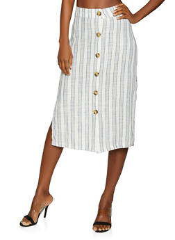 Striped Linen Pencil Skirt - 1062051066559