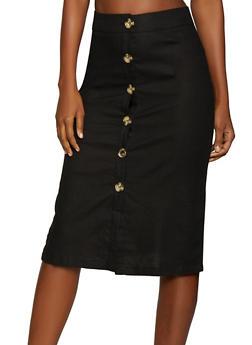 Button Front Linen Skirt - 1062051066564