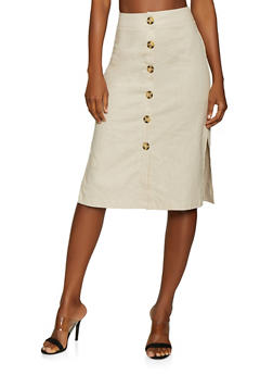 Button Front Linen Skirt - 1062051066564