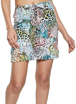 Button Front Printed Cargo Skirt - BLUE - 1062051066810