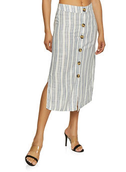 Striped Linen Button Skirt - 1062051069556