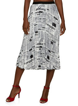 Newspaper Print Pleated Midi Skirt - 1062062122855