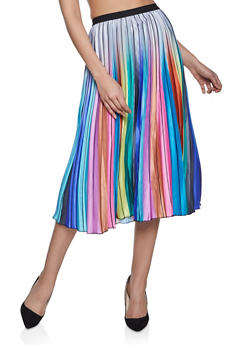 Multi Color Pleated Midi Skirt - 1062062122900