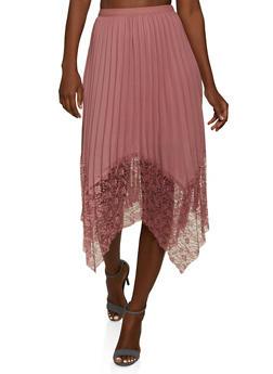 Lace Hem Pleated Asymmetrical Skirt - 1062062122950