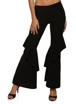 Flared Ruffle Trim Pants - 1062062124275