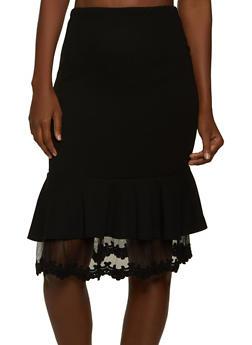 Mesh Trim Ruffled Pencil Skirt - 1062062125413