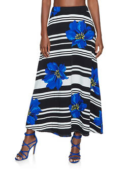 Floral Striped Maxi Skater Skirt - 1062062127990