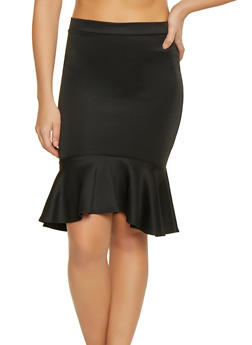 Ruffle Hem Scuba Skirt - 1062062411451