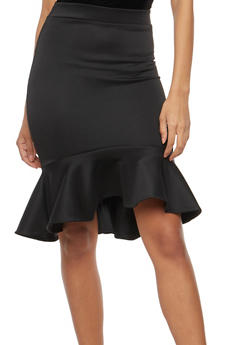 Peplum Hem Pencil Skirt - 1062062411541