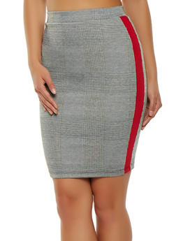 Plaid Side Stripe Pencil Skirt - 1062062411565