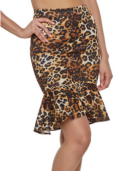 Leopard Scuba Knit Pencil Skirt - 1062062414141